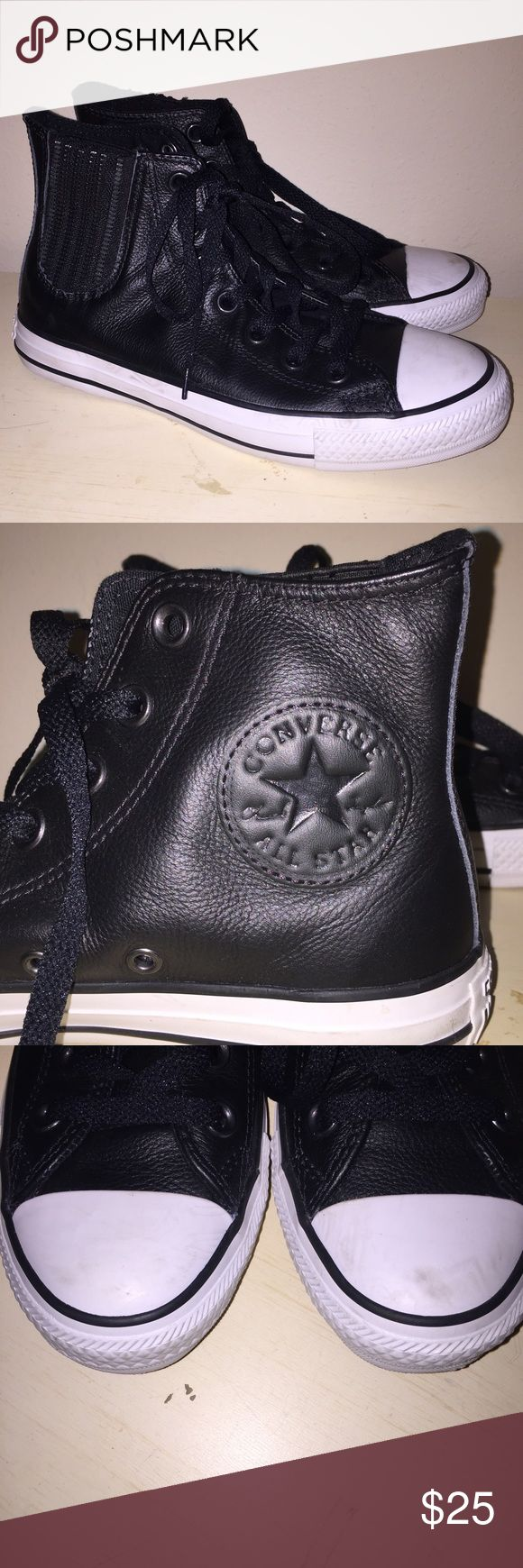 BLACK LEATHER CONVERSE In great condition. just need the toes cleaned!!! Converse Shoes
