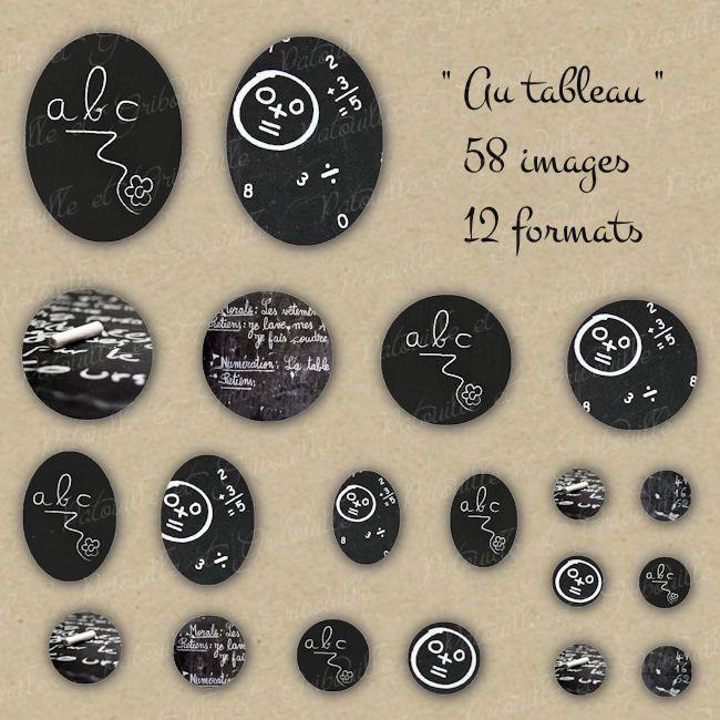 """58 images digitales pour cabochon thème rentrée scolaire """" Au tableau"""" - 12 formats - à imprimer : Images digitales pour bijoux par patouille-et-gribouille"""