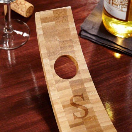 Balancing Bamboo Personalized Wine Bottle Holder - click/tap to personalize and buy