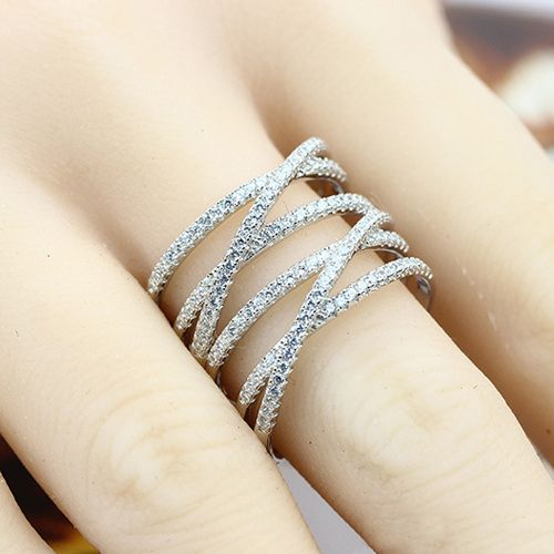 Alibaba SJ Trendy Design SJB0031 Exquisite Lady Accessory AAA Cubic Zirconia Silver Real Gold Plated Net Shape Hollow Band Ring