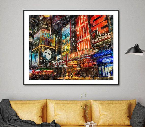 City Print Broadway Art Print Watercolor Print New York Etsy Travel Wall Art City Prints Posters Art Prints
