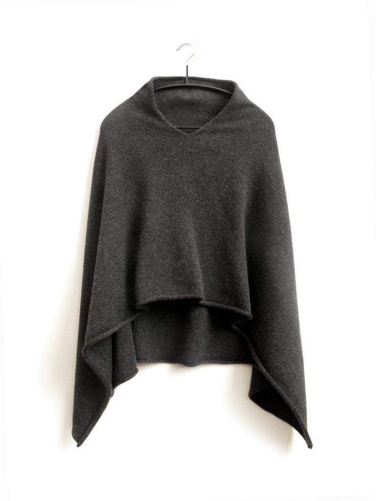 Midnight Grey 4ply 100 Cashmere Poncho Wool Ponchos