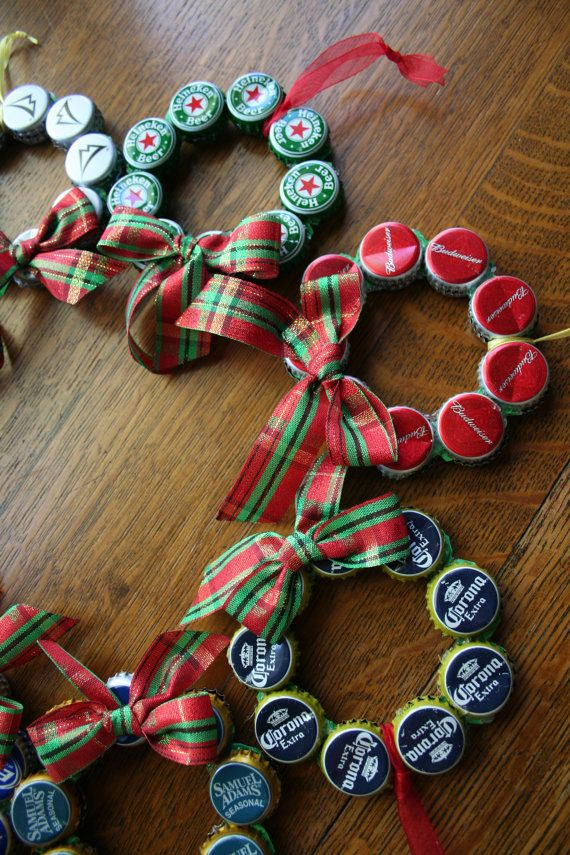Upcycled Beer Bottle Cap Christmas Ornament. Maybe it could also be like the diapercakes and get something yo go in the middle of a dozen beer bottle s and then create a wreath around the lids ;)