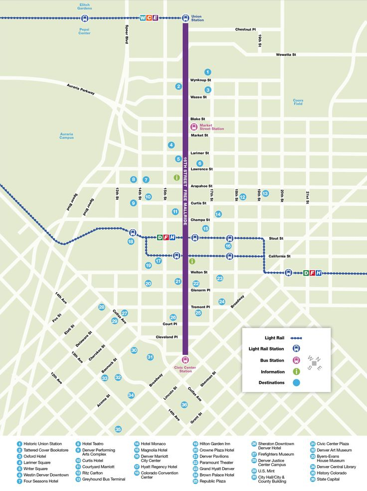 Rtd 16th Street Free Mallride Route Map Denver Colorado