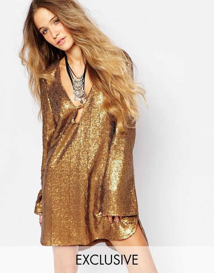 Glamorous+Tunic+Dress+with+Plunge+Neck+and+Flare+Sleeve+in+Sequin