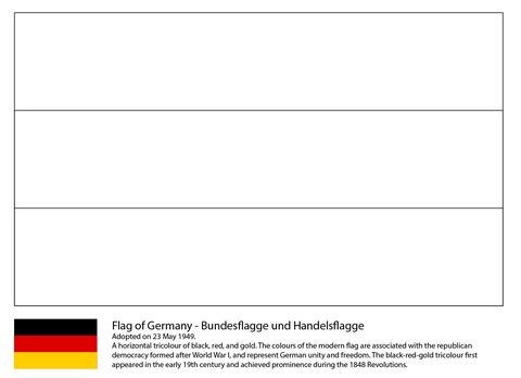 Flag of Germany coloring page from Germany category. Select from 25663 printable crafts of cartoons, nature, animals, Bible and many more.