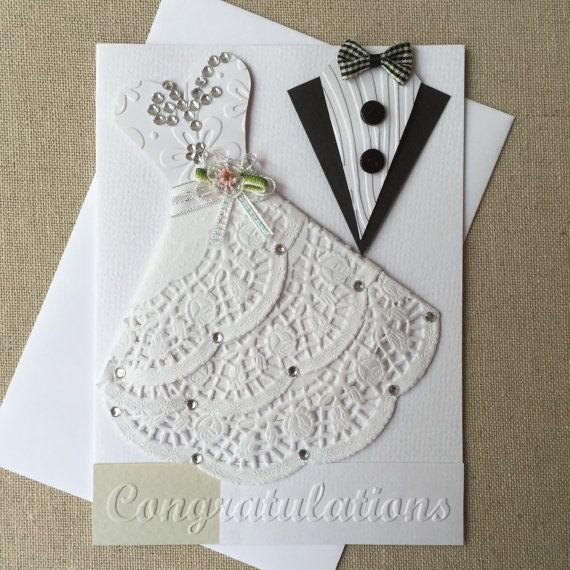 Handmade Wedding card by CardsByYvonne on Etsy