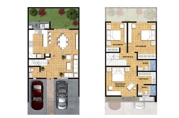 Planos de casas de 90m2 de 2 pisos buscar con google for Decoracion casa 90m2