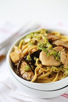 Make this classic Chinese take-out staple at home! Chicken lo-mein recipe on tablefortwoblog.com