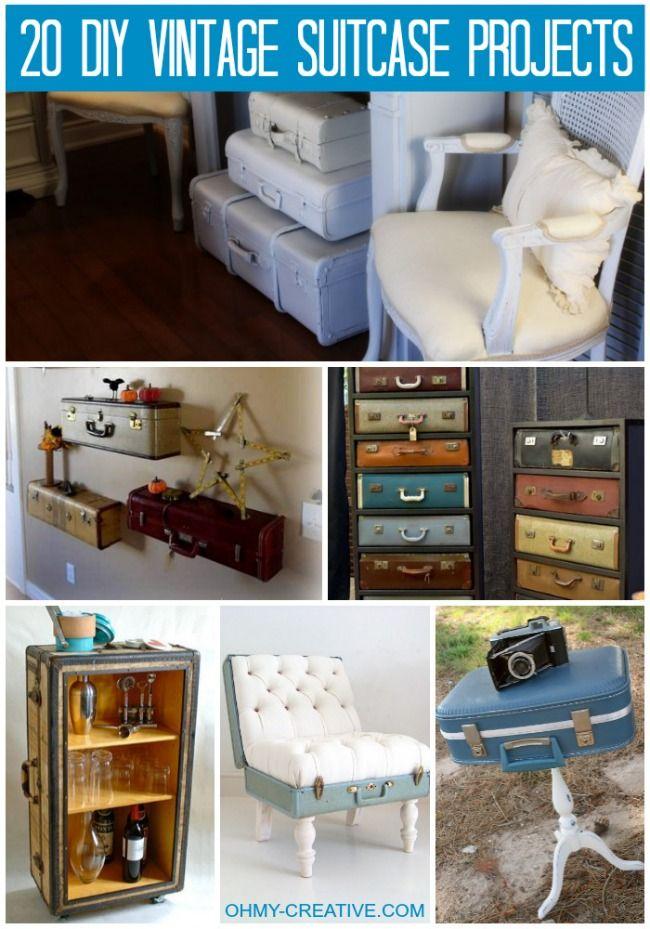 20 DIY Vintage Suitcase Projects  |  OHMY-CREATIVE.COM #VintageSuitcase