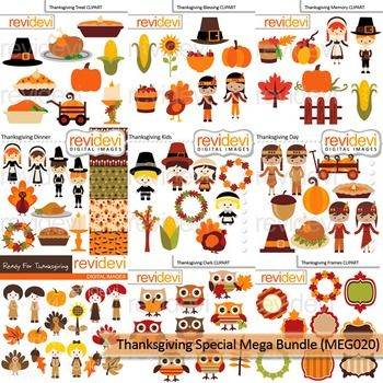 Thanksgiving Special Clip Art Mega Bundle includes 9 sets of cute digital graphic images. Kids, autumn leaves, pumpkins, turkeys, pies, are among the graphics.Digital graphic clipart resource for teacher seller author. This is a super value bundle for high quality clip arts.Within your purchase, you will get these 9 sets:1.