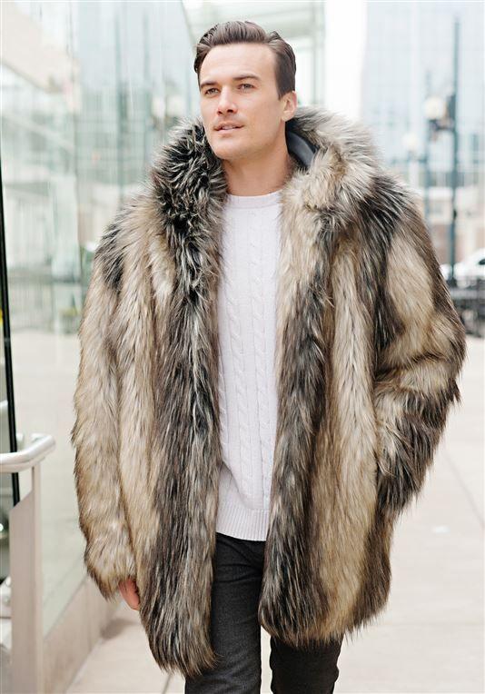 443da6809 Men's Pieced Fox Hooded Faux Fur Jacket | Mens Faux Fur Jackets ...
