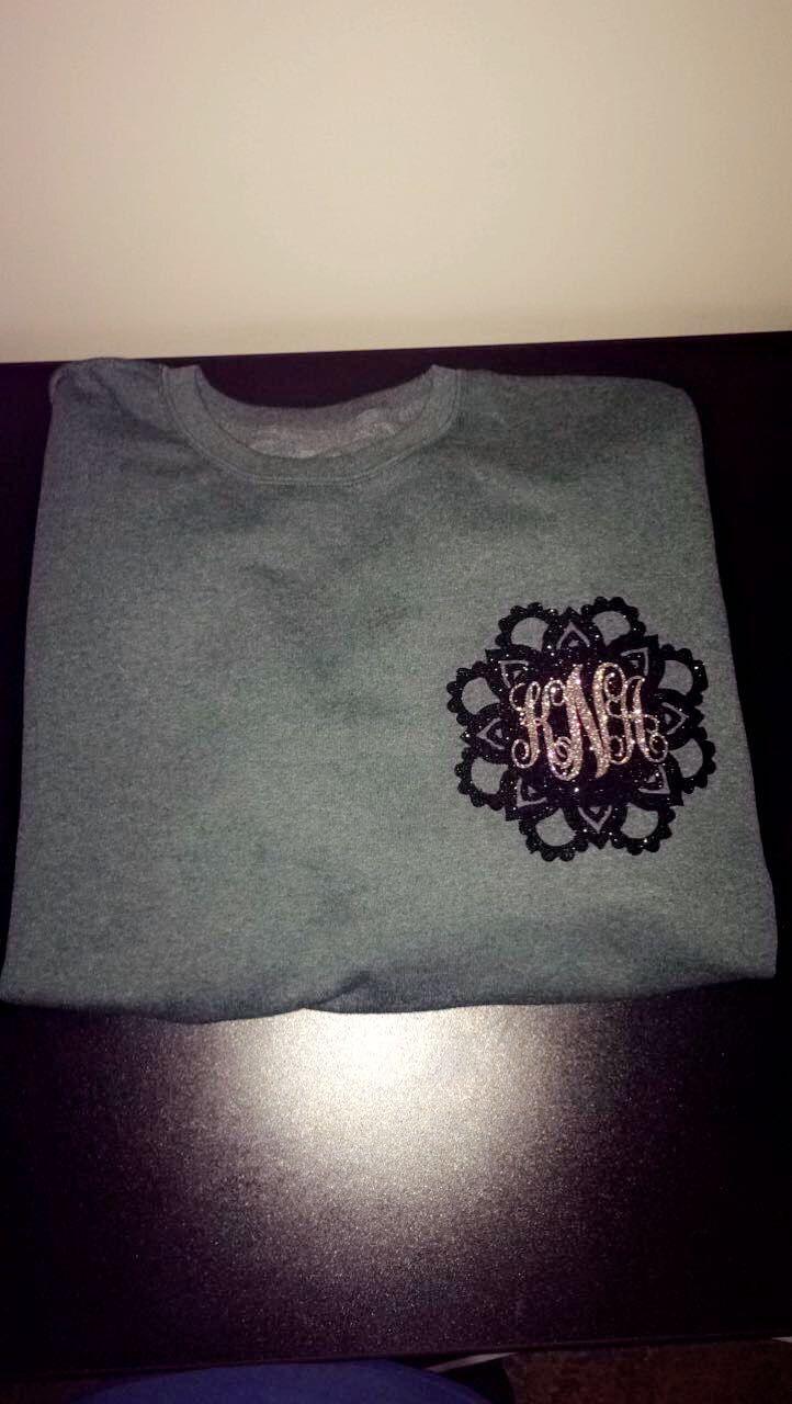 Design your own hello kitty t-shirt - Monogram Crewneck Mandala Super Cute Black Silver Cricut Iron On Vinyl