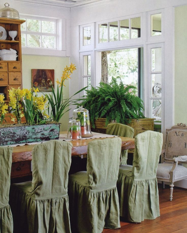 Casual Dining Room With Slipcovered Chairs