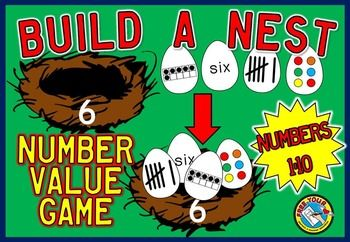 BUILD A NEST - NUMBER VALUE GAME - NUMBERS 1 TO 10.  This game provides children with lots of practice by counting spots on eggs, identifying tally marks and ten frame representations and recognizing numerals and number names.