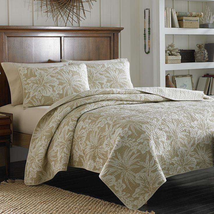Tommy Bahama Hanalie Hibiscus Neutral Quilt bedding