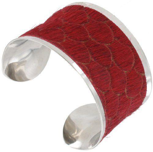 Hadley Roma Stainless Steel Red Calf Hair Fur Pattern Wide Cuff Bracelet Hadley Roma. $75.00. Stainless Steel Metal. Calf Hair