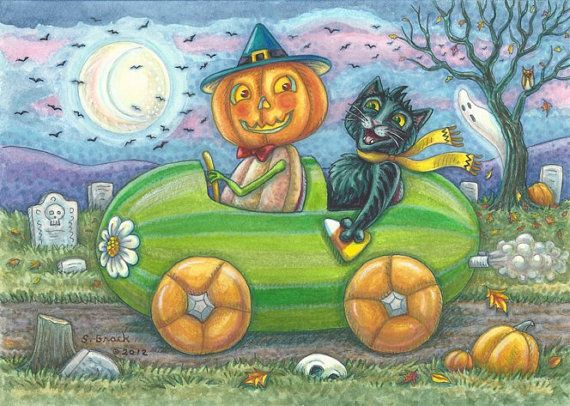 HALLOWEEN TRAVELERS By Susan Brack EHAGart   You can find my original illustration Black Cat Pumpkin Man Driving Watermelon Car on Etsy, $75.00