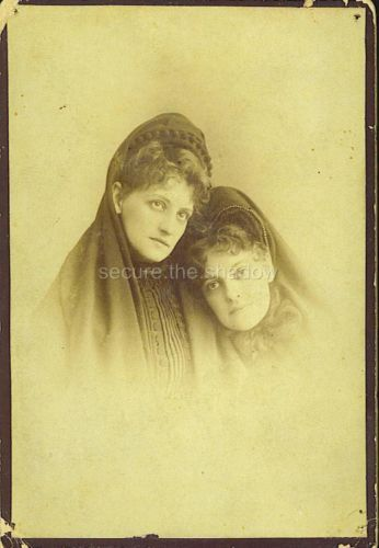 Card photo two winsome affectionate young women in mourning w veils