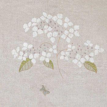 Hydrangea & Butterflies Linen Fabric - 310