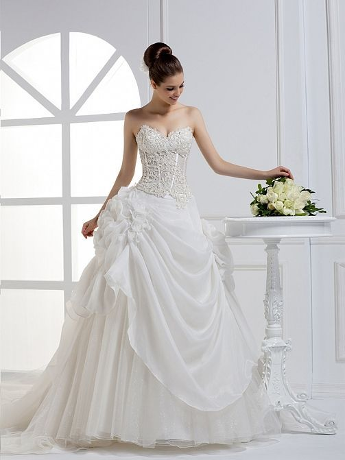 2012 Fall Strapless Organza bridal gownBall Gown, Floor Length, Dropped, Cathedral Train, Strapless, Sweetheart, Sleeveless, Appliques, Hand Made Flowers, Lace-Up, Organza, Tulle, Church, Hall, Spring, Summer, Fall,