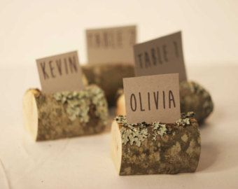 25 pieces rustic birch place card holders Wedding by SnakeInChest