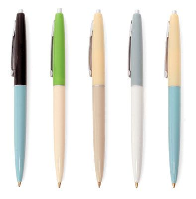 Retro Pens Set of 5    Do you love the show Mad Men? We do. These pens look like they were lifted off the set. Our retro set of pens are in the style and color scheme popular in the early 1960's. Go to the office in swanky style.  $6.00