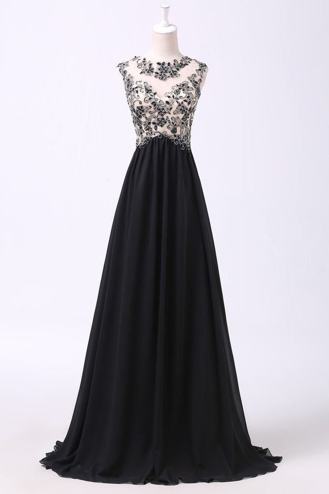 Charming Applique Long Evening Dress Party Formal Gown Bridesmaid Prom Dresses #GraceKarin #BallGown #Formal