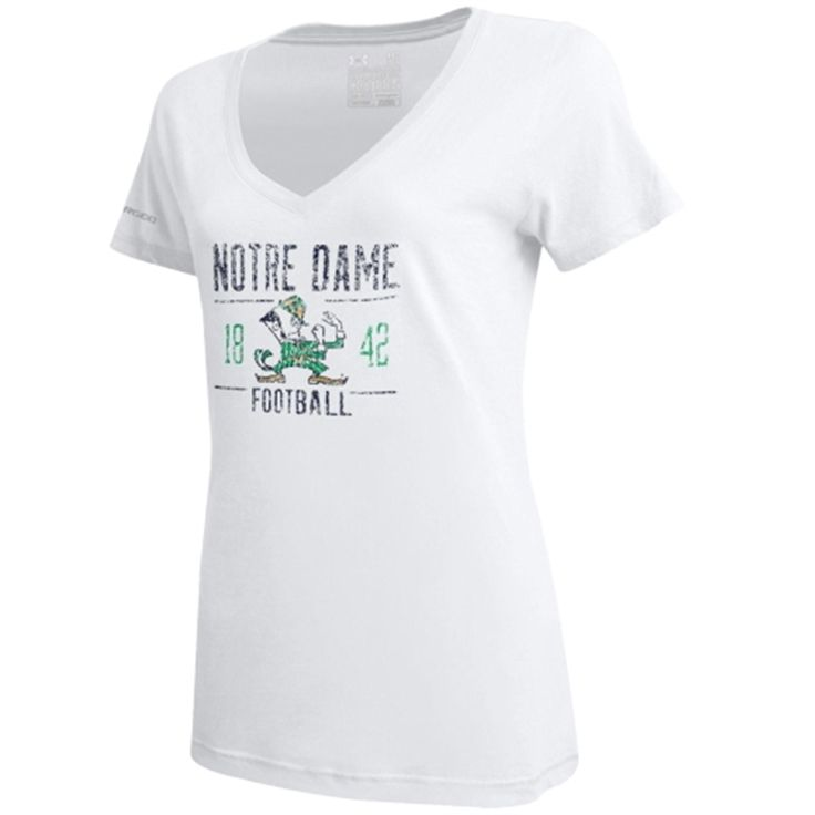 Notre Dame Fighting Irish Under Armour Women's Charged Cotton V-Neck T-Shirt - White