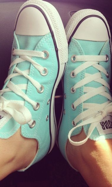 Tiffany blue. These are cute sneakers. One of the few pairs of sneakers I've called cute in my life.