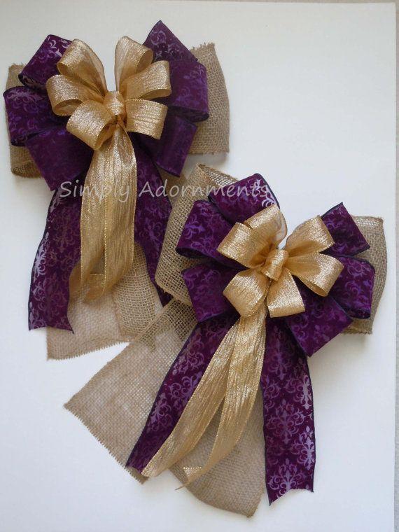 burlap purple baroque gold wedding pew bow rustic shabby by simplyadornmentsss