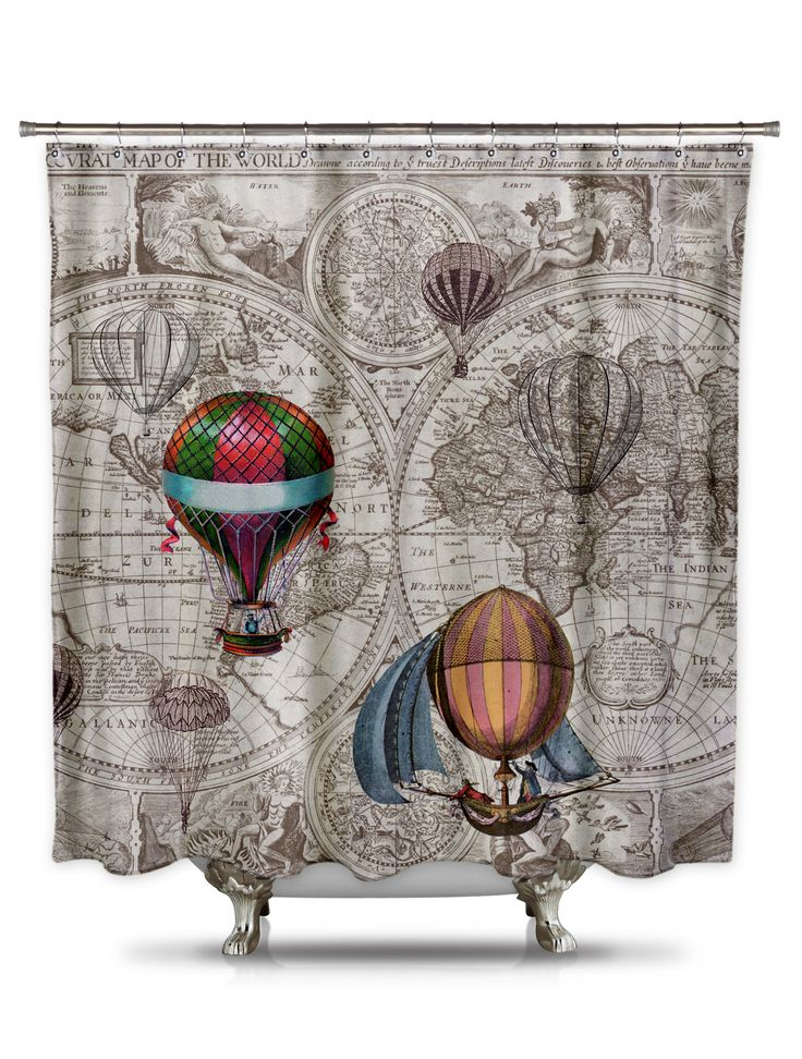 Hot Air Balloon Map Shower Curtain by Catherine Holcombe