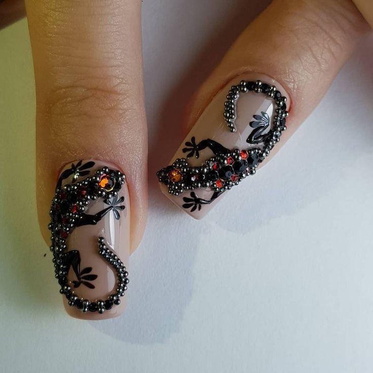 Ящерицы на ногтях картинки