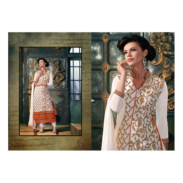 Viva N Diva Off White Color 60 Gm Georgette Suit from #Celebstall  #georgettesuit #salwarsuit #fashion #weddingseason #onlineshopping  http://goo.gl/Tmtsj2
