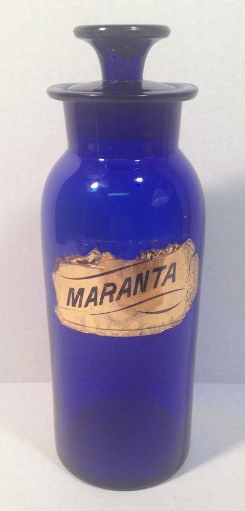 Rare COBALT BLUE Glass Apothecary Bottle Jar Pharmacy Chemist MARANTA Gold Label #french