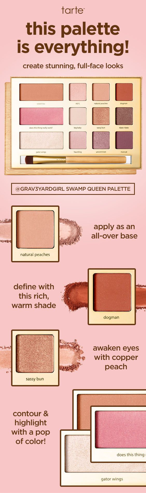 The amount of looks you can create with our limited-edition grav3yardgirl Swamp Queen palette? ENDLESS! Pick up yours now on tarte.com!  #tartecosmetics #swampfamily #rethinknatural #naturalartistry