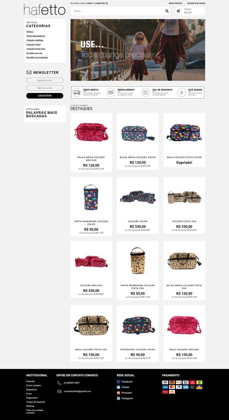 Loja Virtual - Haffeto Frontend plataforma Traycommerce  Sobre Somos uma empresa fundada em 1990 no ramo de bolsas, mochilas e acessórios e atendemos a uma vasta rede de lojas na cidade do Rio de Janeiro. Nossa principal missão é manter um relacionamento com nossos clientes, da mesma forma que também nos enxergamos como consumidores. Nossos produtos unem os quatro pilares para sua satisfação: beleza, qualidade, valor agregado e pontualidade.