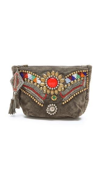 Antik Batik Kiro Pouch - beautiful all purpose stylish Intricate beading lends an eclectic touch to this suede clutch, designed with compartments for all the essentials. The zip opens to a lined interior with a dividing zip pocket and 12 card slots