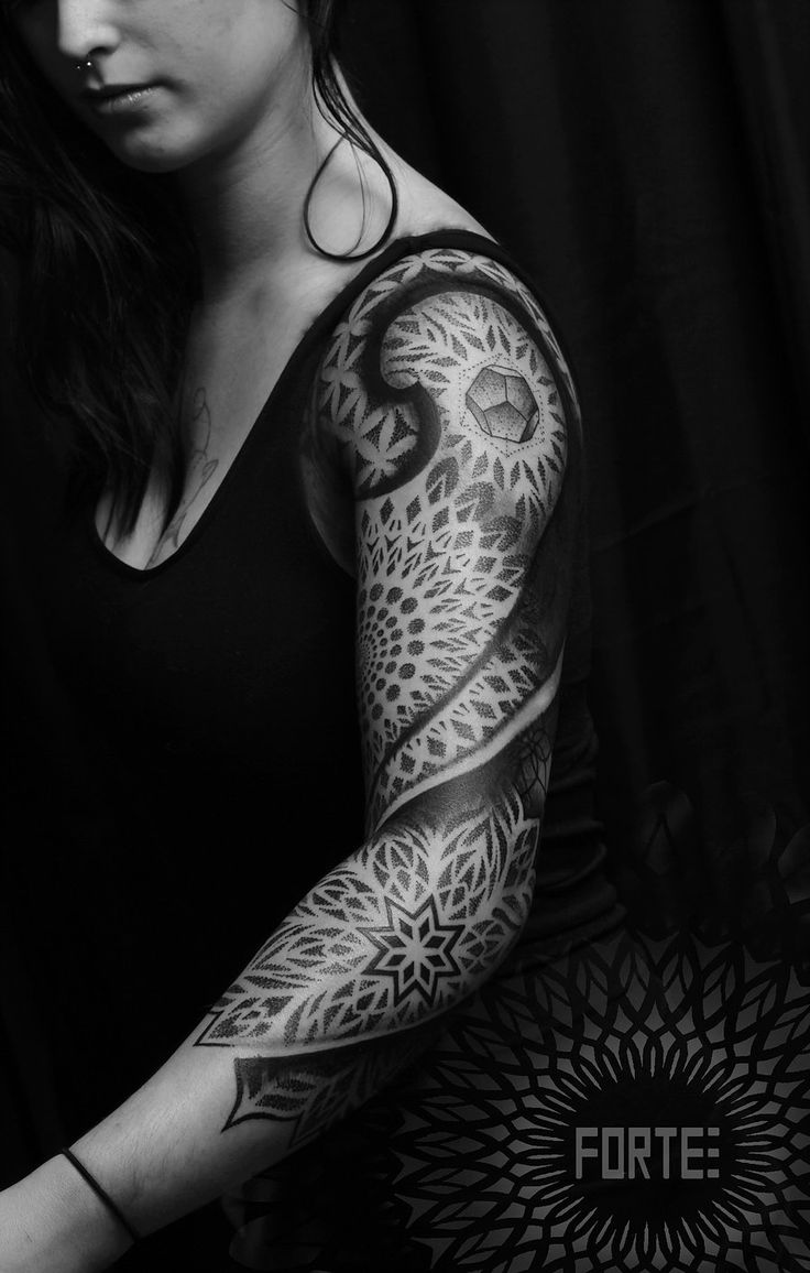 40 mysterious sacred geometry tattoo designs - Dillon Forte Sacred Geometry And Pointillism Tattoos