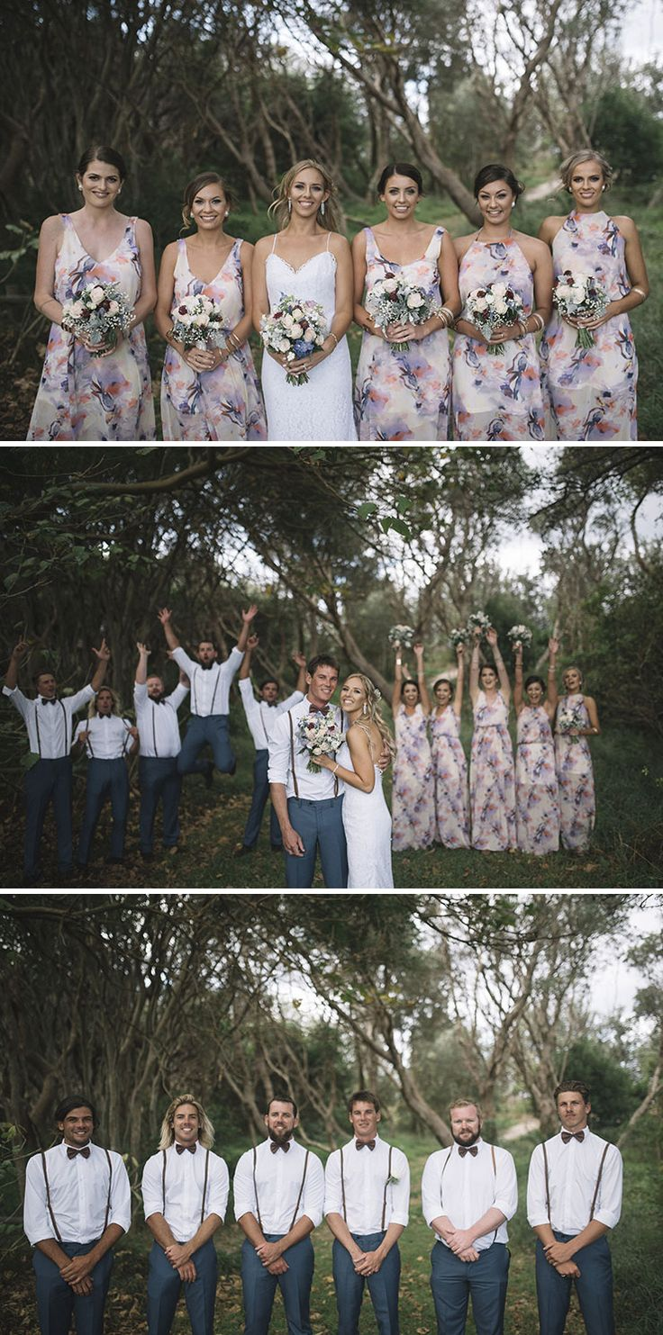 Floral print bridesmaid dresses and groomsmen wearing suspenders and bow ties | Barefoot & Bearded