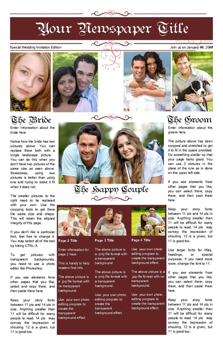 1790de7dffc72875fae54d38ce81d321--wedding-newspaper-free-cloud Sample Bridesmaid Newsletter Template on one page employee, apartment community, travel 4 page, cover page, short easy,