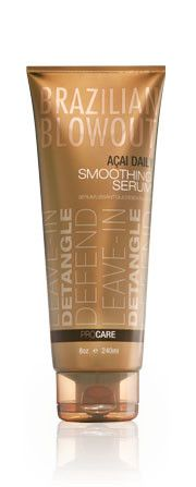 Brazilian Blowout Acai Daily Smoothing Serum is a leave-in conditioning styling treatment perfect for chemically treated hair. Enriched with cocoa seed butter, acai fruit extract, dubia fruit extract