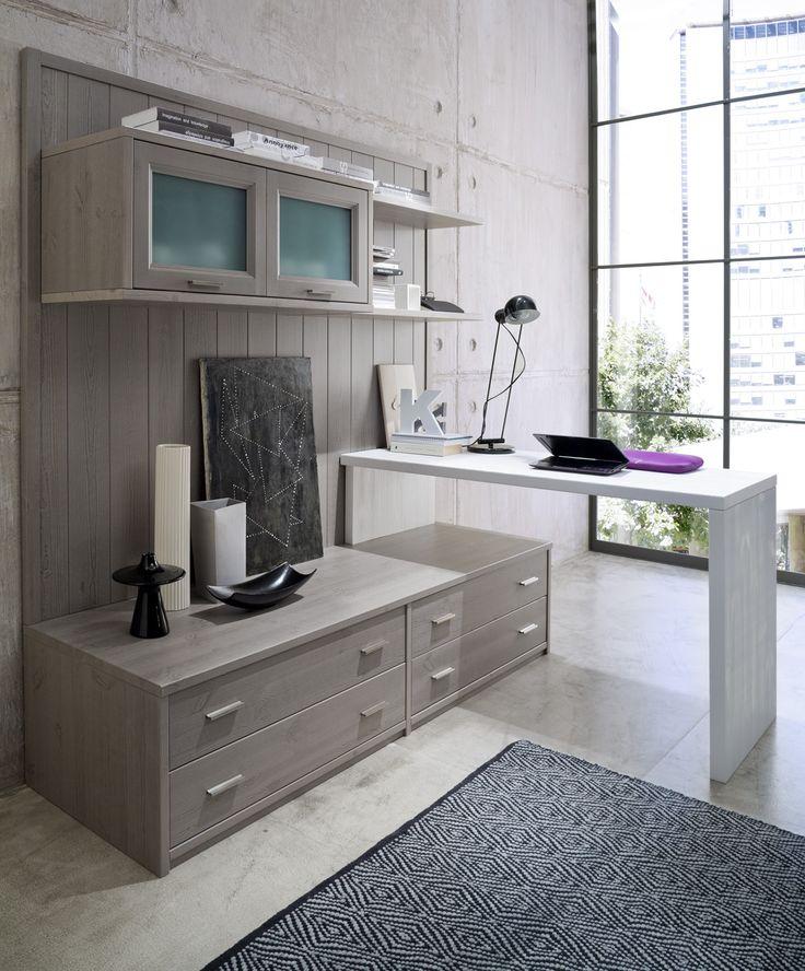 Soggiorno componibile in legno massiccio + scrittoio bianco, qualità 100% made in Italy. Possibilità di costruire soluzioni d'arredo su misura per ogni tua esigenza. #wood #furniture #livingroom #modular #moderncountry  www.demarmobili.it