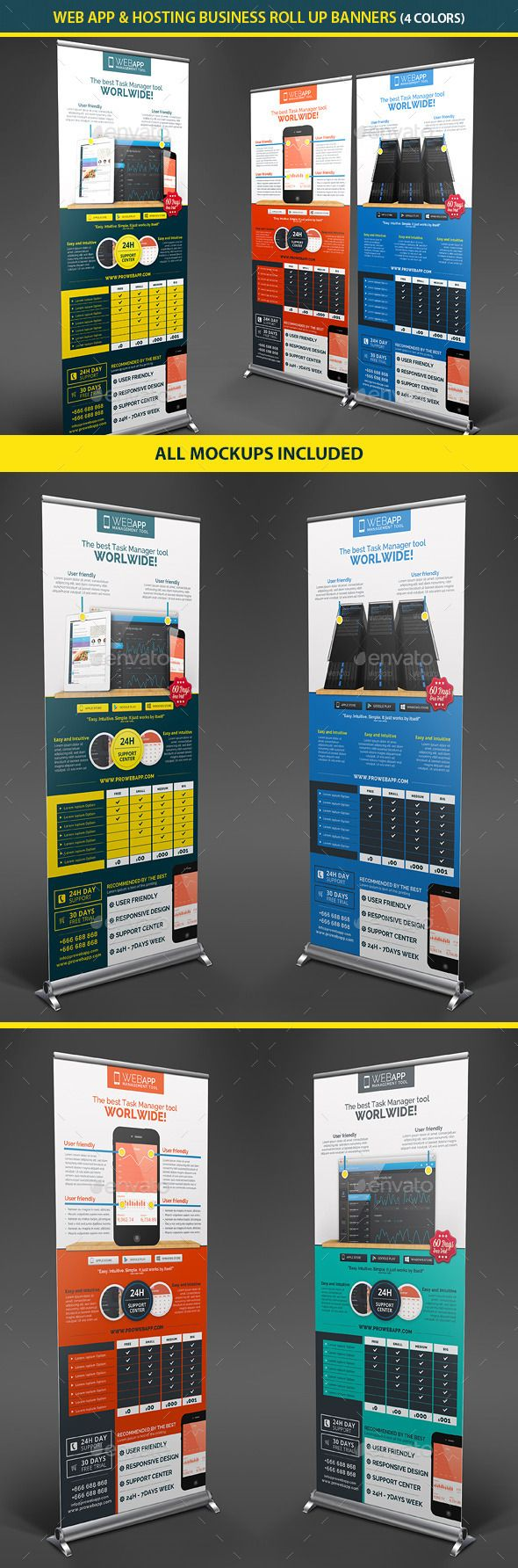 Web App Tech & Hosting Roll Up Banners — Photoshop PSD #ios #responsive • Av...