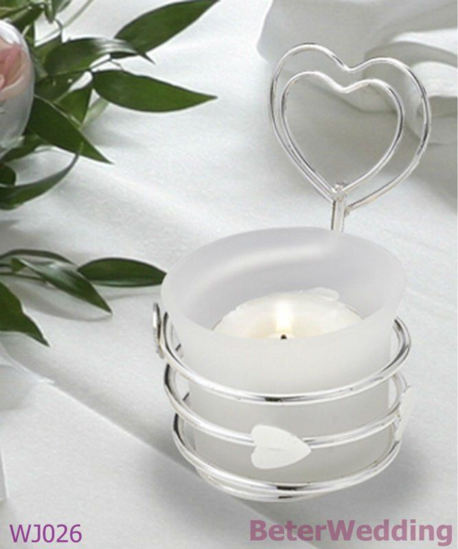 Silver Heart Design Candle Holder Place Card