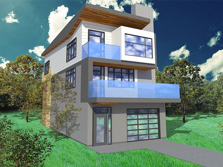 Narrow lot house plan 056h 0005 modern too busy but for Contemporary house plans with lots of windows