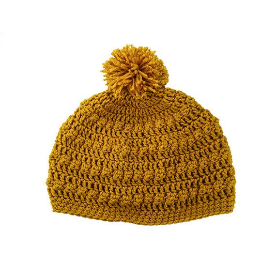 Womens Mens Bobble Pom Pom Slouchy Beanie Hat in Mustard by Bucum, $25.00