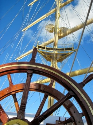 Cruise:  On the Royal Clipper, passengers can take a turn at steering and mast-climbing.