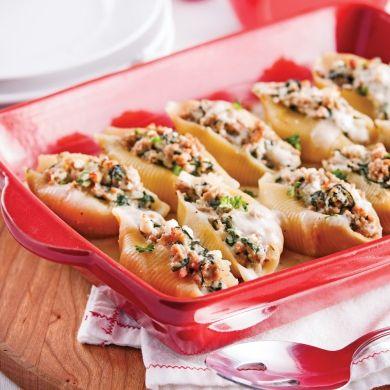 Coquilles farcies au poulet sauce Alfredo - Soupers de semaine - Recettes 5-15 - Recettes express 5/15 - Pratico Pratique