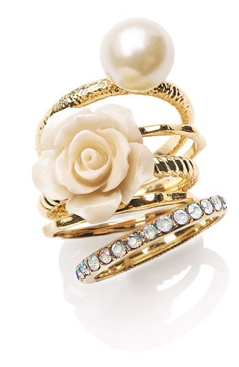 Nordstrom ring of gold, pearls, diamonds, ivory flowers
